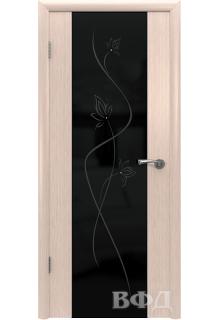 Межкомнатная дверь «Рондо» беленый дуб (стекло венге Триплекс)