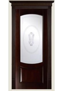 """Межкомнатная дверь из массива бука """"Гёте"""" (стекло Гранат Я-11)"""